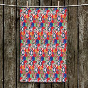 Unique Bathroom Towels | Yasmin Dadabhoy - Circles Red Blue | shape geometric pattern