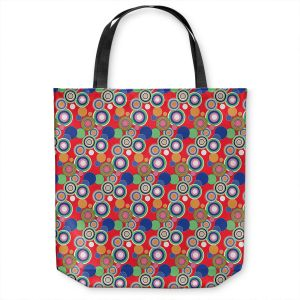 Unique Shoulder Bag Tote Bags | Yasmin Dadabhoy - Circles Red Blue | shape geometric pattern