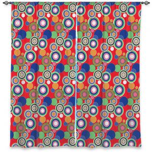 Decorative Window Treatments | Yasmin Dadabhoy - Circles Red Blue | shape geometric pattern