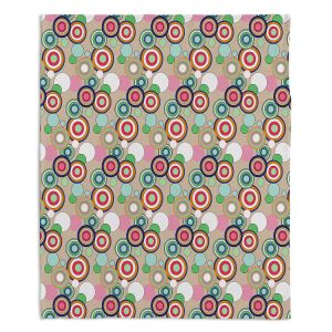 Decorative Fleece Throw Blankets | Yasmin Dadabhoy - Circles Tan Green | shape geometric pattern