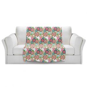 Artistic Sherpa Pile Blankets   Yasmin Dadabhoy - Circles Tan Green   shape geometric pattern