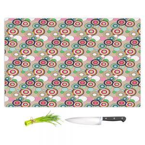 Artistic Kitchen Bar Cutting Boards | Yasmin Dadabhoy - Circles Tan Green | shape geometric pattern