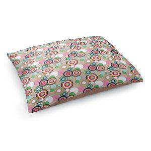 Decorative Dog Pet Beds | Yasmin Dadabhoy - Circles Tan Green | shape geometric pattern
