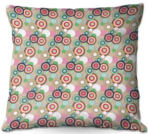 Throw Pillows Decorative Artistic | Yasmin Dadabhoy - Circles Tan Green | shape geometric pattern