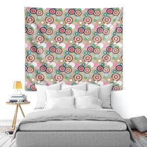 Artistic Wall Tapestry | Yasmin Dadabhoy - Circles Tan Green | shape geometric pattern