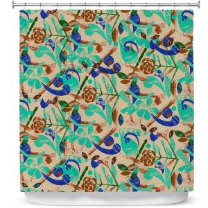 Premium Shower Curtains | Yasmin Dadabhoy - Collage Blue | nature floral pattern