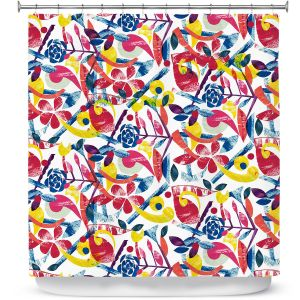 Premium Shower Curtains | Yasmin Dadabhoy - Collage Multi | nature floral pattern