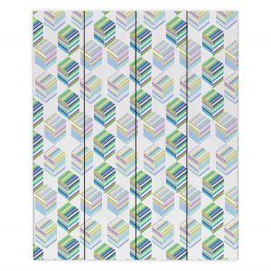 Decorative Wood Plank Wall Art | Yasmin Dadabhoy - Cubes 1A | Geometric Pattern
