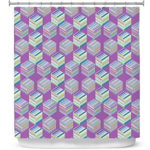 Premium Shower Curtains | Yasmin Dadabhoy - Cubes 1B | Geometric Pattern