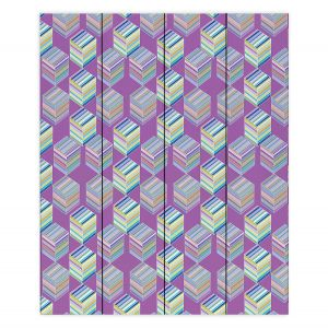 Decorative Wood Plank Wall Art | Yasmin Dadabhoy - Cubes 1B | Geometric Pattern
