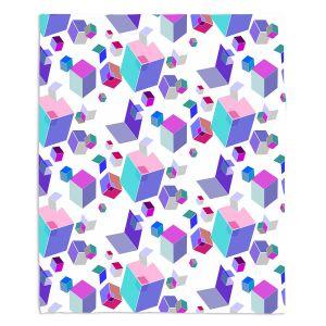 Decorative Fleece Throw Blankets | Yasmin Dadabhoy - Cubes 2A | Geometric Pattern