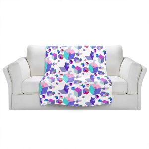 Artistic Sherpa Pile Blankets | Yasmin Dadabhoy - Cubes 2A | Geometric Pattern