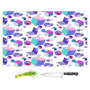 Artistic Kitchen Bar Cutting Boards | Yasmin Dadabhoy - Cubes 2A | Geometric Pattern