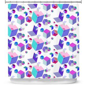 Premium Shower Curtains | Yasmin Dadabhoy - Cubes 2A | Geometric Pattern