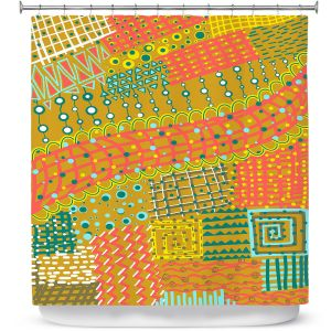 Premium Shower Curtains   Yasmin Dadabhoy - Doodle Towel   abstract pattern lines