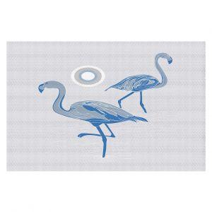 Decorative Floor Covering Mats | Yasmin Dadabhoy - Flamingo 1 Blue | bird nature simple pop art