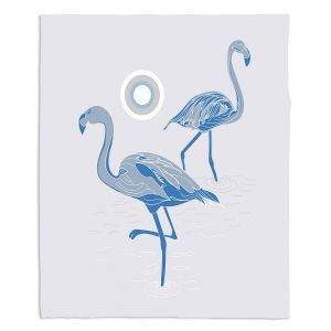Artistic Sherpa Pile Blankets   Yasmin Dadabhoy - Flamingo 1 Blue   bird nature simple pop art