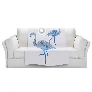Artistic Sherpa Pile Blankets | Yasmin Dadabhoy - Flamingo 1 Blue | bird nature simple pop art