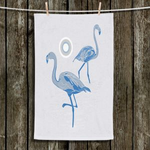 Unique Bathroom Towels | Yasmin Dadabhoy - Flamingo 1 Blue | bird nature simple pop art