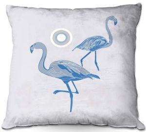 Decorative Outdoor Patio Pillow Cushion | Yasmin Dadabhoy - Flamingo 1 Blue | bird nature simple pop art