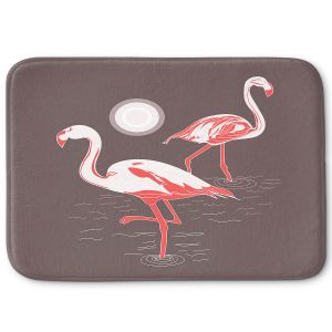 Decorative Bathroom Mats | Yasmin Dadabhoy - Flamingo 1 Brown | bird nature simple pop art