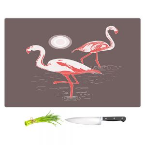 Artistic Kitchen Bar Cutting Boards   Yasmin Dadabhoy - Flamingo 1 Brown   bird nature simple pop art