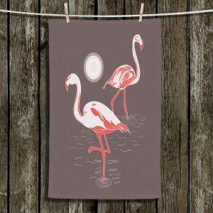 Unique Bathroom Towels | Yasmin Dadabhoy - Flamingo 1 Brown | bird nature simple pop art