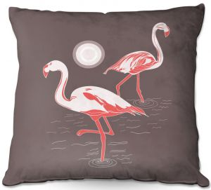 Decorative Outdoor Patio Pillow Cushion | Yasmin Dadabhoy - Flamingo 1 Brown | bird nature simple pop art