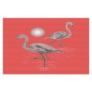 Decorative Floor Covering Mats | Yasmin Dadabhoy - Flamingo 1 Grapefruit | bird nature simple pop art
