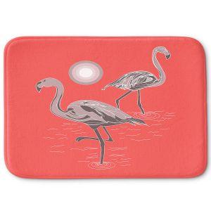 Decorative Bathroom Mats | Yasmin Dadabhoy - Flamingo 1 Grapefruit | bird nature simple pop art