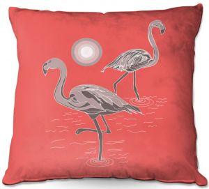 Throw Pillows Decorative Artistic | Yasmin Dadabhoy - Flamingo 1 Grapefruit | bird nature simple pop art
