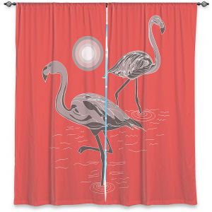 Decorative Window Treatments | Yasmin Dadabhoy - Flamingo 1 Grapefruit | bird nature simple pop art