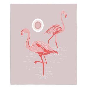 Decorative Fleece Throw Blankets | Yasmin Dadabhoy - Flamingo 1 Gray Pink | bird nature simple pop art