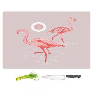 Artistic Kitchen Bar Cutting Boards | Yasmin Dadabhoy - Flamingo 1 Gray Pink | bird nature simple pop art