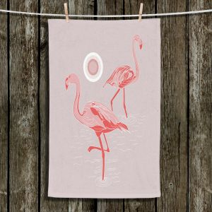 Unique Hanging Tea Towels | Yasmin Dadabhoy - Flamingo 1 Gray Pink | bird nature simple pop art