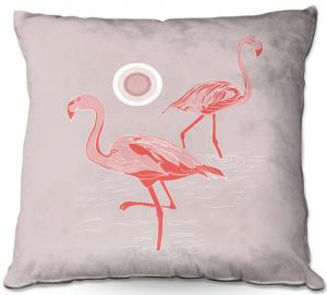 Decorative Outdoor Patio Pillow Cushion | Yasmin Dadabhoy - Flamingo 1 Gray Pink | bird nature simple pop art