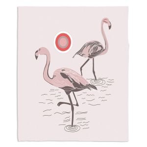Artistic Sherpa Pile Blankets   Yasmin Dadabhoy - Flamingo 1 Pale Pink   bird nature simple pop art