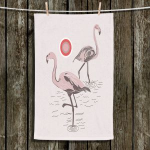 Unique Hanging Tea Towels | Yasmin Dadabhoy - Flamingo 1 Pale Pink | bird nature simple pop art