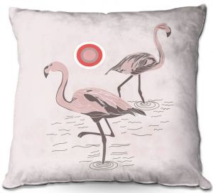 Decorative Outdoor Patio Pillow Cushion | Yasmin Dadabhoy - Flamingo 1 Pale Pink | bird nature simple pop art