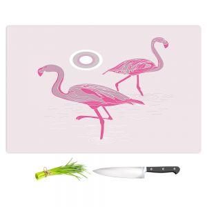 Artistic Kitchen Bar Cutting Boards | Yasmin Dadabhoy - Flamingo 1 Pink | bird nature simple pop art