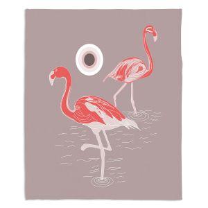 Decorative Fleece Throw Blankets | Yasmin Dadabhoy - Flamingo 1 Red | bird nature simple pop art