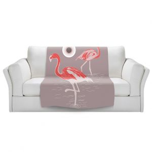 Artistic Sherpa Pile Blankets | Yasmin Dadabhoy - Flamingo 1 Red | bird nature simple pop art