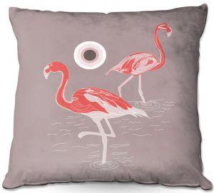 Decorative Outdoor Patio Pillow Cushion   Yasmin Dadabhoy - Flamingo 1 Red   bird nature simple pop art