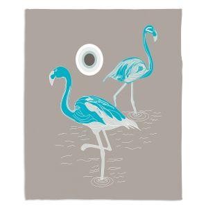 Decorative Fleece Throw Blankets | Yasmin Dadabhoy - Flamingo 1 Turquoise | bird nature simple pop art