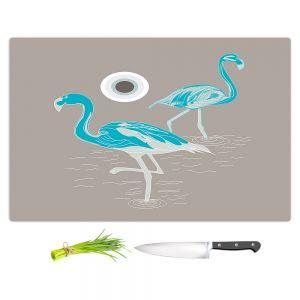 Artistic Kitchen Bar Cutting Boards | Yasmin Dadabhoy - Flamingo 1 Turquoise | bird nature simple pop art
