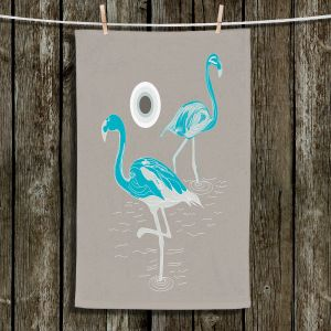 Unique Hanging Tea Towels | Yasmin Dadabhoy - Flamingo 1 Turquoise | bird nature simple pop art