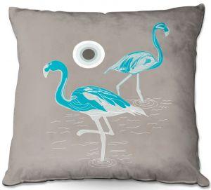 Throw Pillows Decorative Artistic | Yasmin Dadabhoy - Flamingo 1 Turquoise | bird nature simple pop art