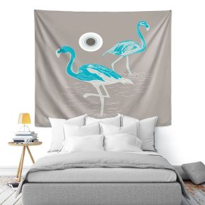 Artistic Wall Tapestry | Yasmin Dadabhoy - Flamingo 1 Turquoise | bird nature simple pop art