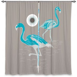 Decorative Window Treatments | Yasmin Dadabhoy - Flamingo 1 Turquoise | bird nature simple pop art