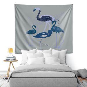Artistic Wall Tapestry | Yasmin Dadabhoy - Flamingo 2 Blue | bird nature simple pop art